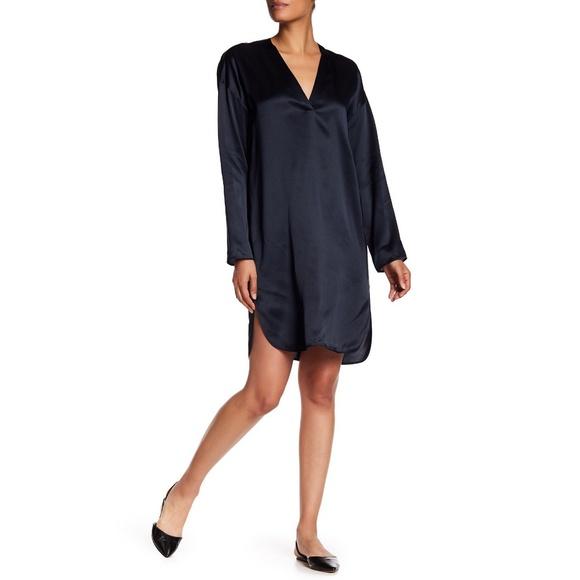 4140994fbb4c09 VINCE Navy Blue Satin Silk V Neck Tunic Dress S